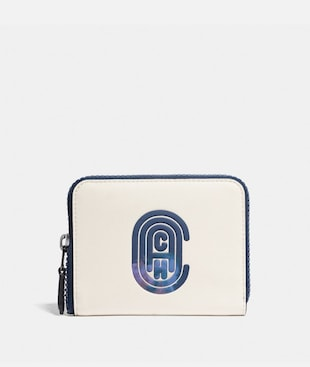 SMALL ZIP AROUND WALLET WITH COACH PATCH