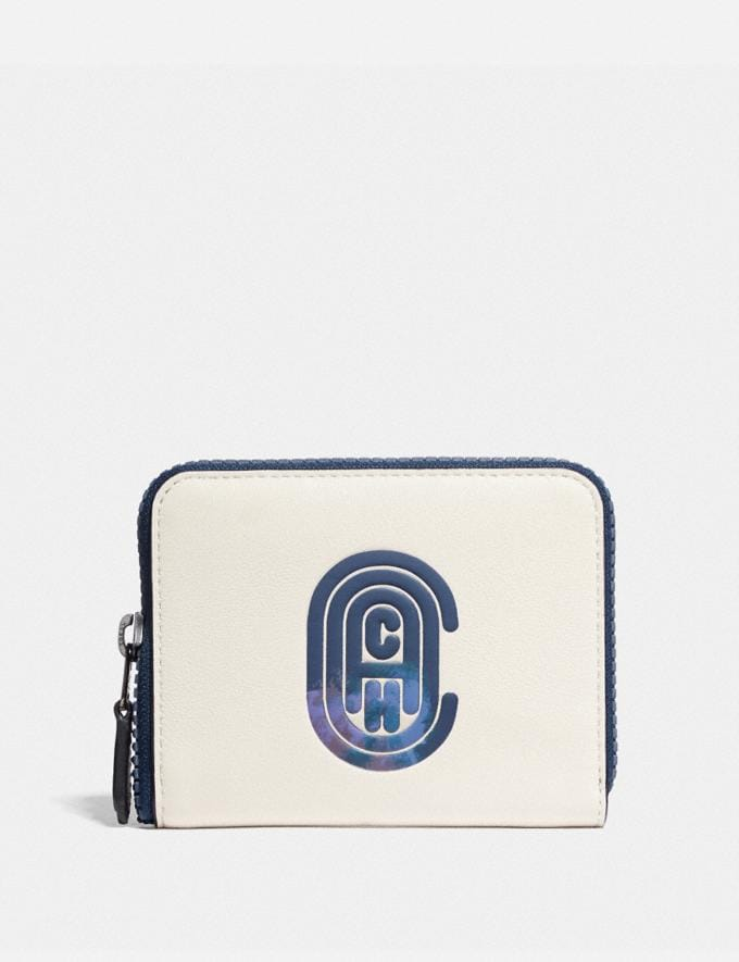 Coach Small Zip Around Wallet With Coach Patch Chalk Multi/Gunmetal Women Small Leather Goods Small Wallets
