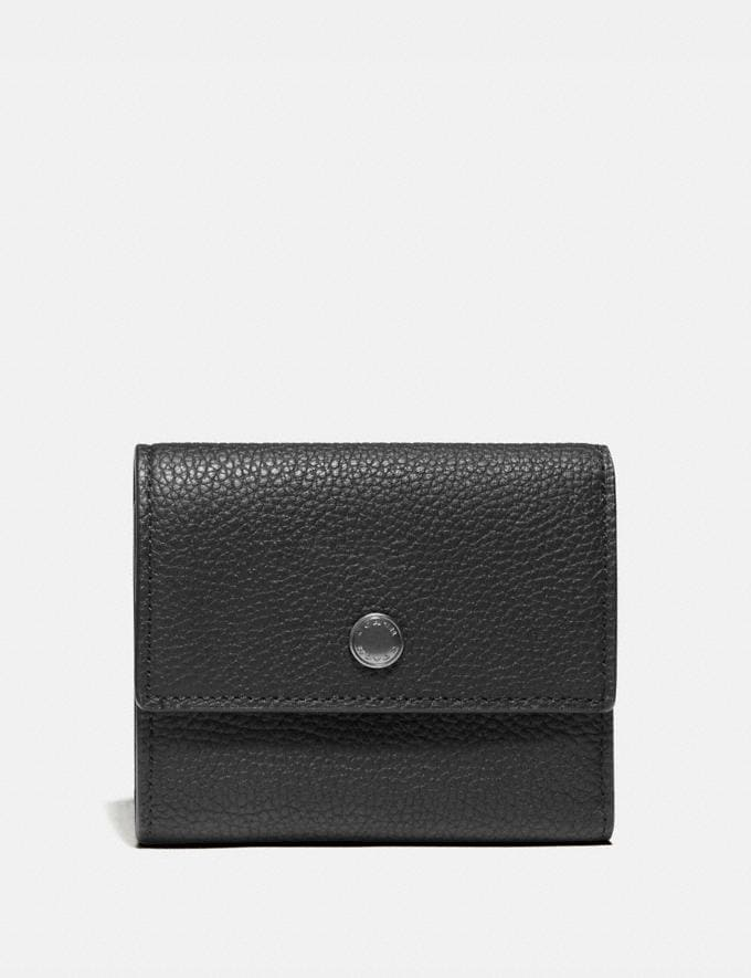 Coach Trifold Snap Wallet Black