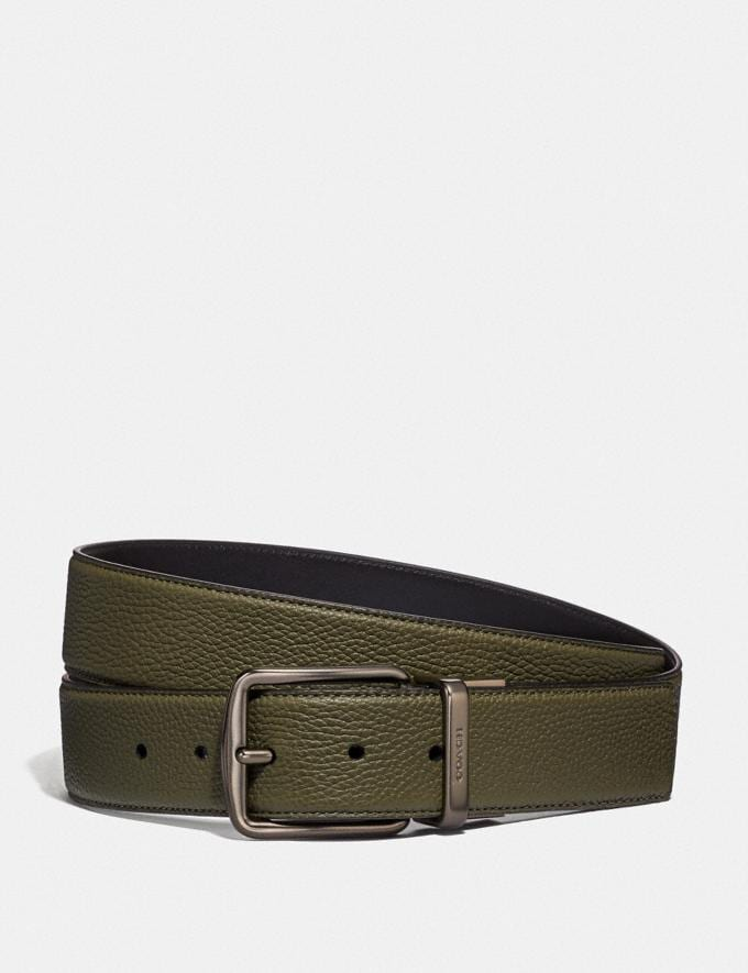 Coach Harness Buckle Cut-To-Size Reversible Belt, 38mm Light Olive/Black Men Accessories Belts