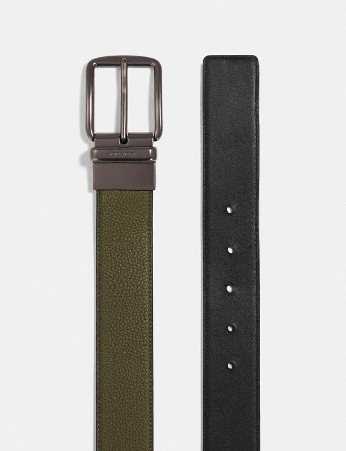 Coach Harness Buckle Cut-To-Size Reversible Belt, 38mm Light Olive/Black Men Accessories Belts Alternate View 1