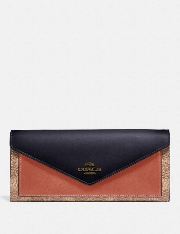 Coach Soft Wallet in Colorblock Signature Canvas Tan/Ink Light Peach/Brass Women Collection Signature