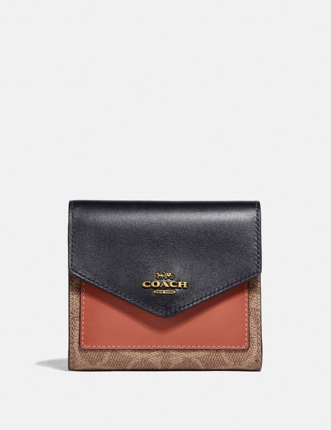 Coach Small Wallet in Colorblock Signature Canvas Tan/Ink Light Peach/Brass Gifts For Her Bestsellers