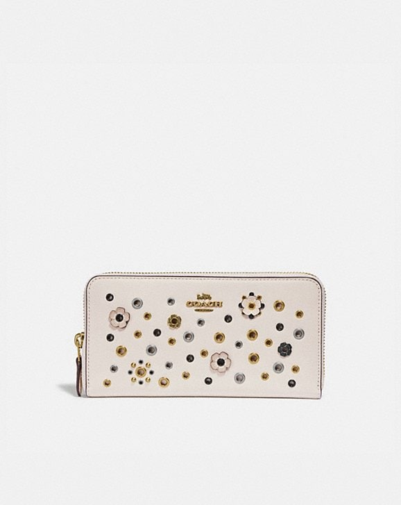Coach ACCORDION ZIP WITH SCATTERED RIVETS