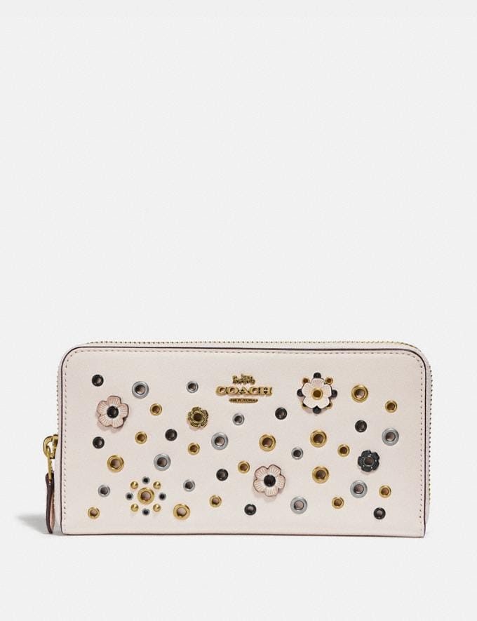 Coach Accordion Zip With Scattered Rivets Brass/Chalk Multi