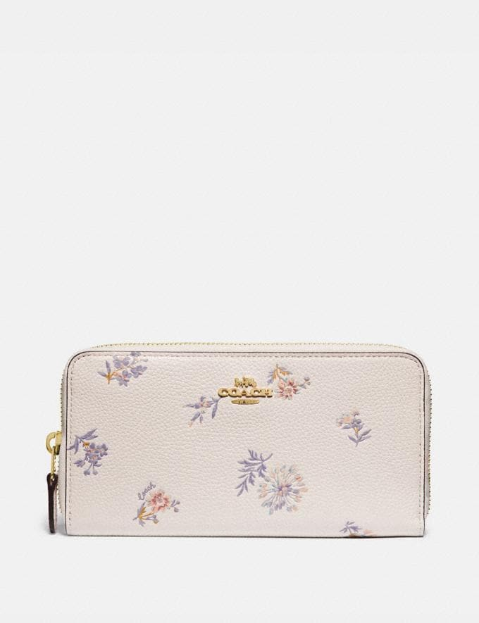Coach Accordion Zip Wallet With Meadow Prairie Print Gold/Chalk Women Wallets & Wristlets Large Wallets