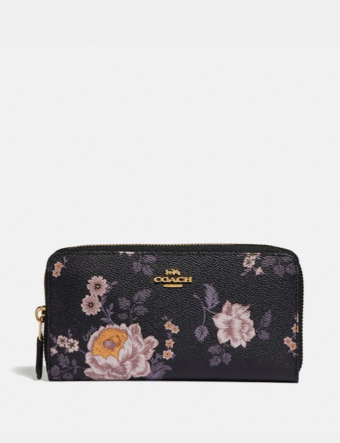 Coach Accordion Zip Wallet With Garden Rose Print Gold/Black