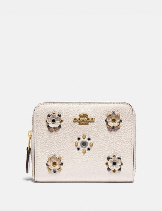 Coach Small Zip Around Wallet With Scattered Rivets Brass/Chalk Women Wallets & Wristlets Small Wallets
