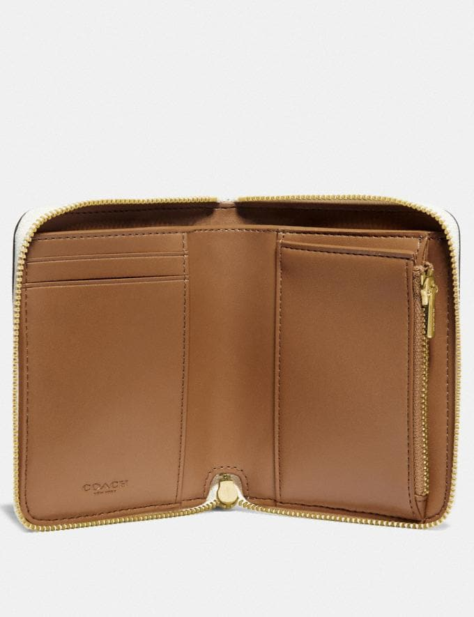 Coach Small Zip Around Wallet With Scattered Rivets Brass/Chalk Women Wallets & Wristlets Small Wallets Alternate View 1