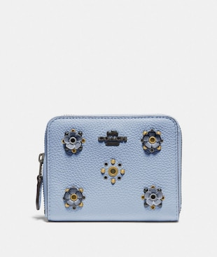 SMALL ZIP AROUND WALLET WITH SCATTERED RIVETS