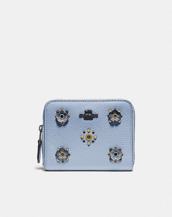 Coach SMALL ZIP AROUND WALLET WITH SCATTERED RIVETS