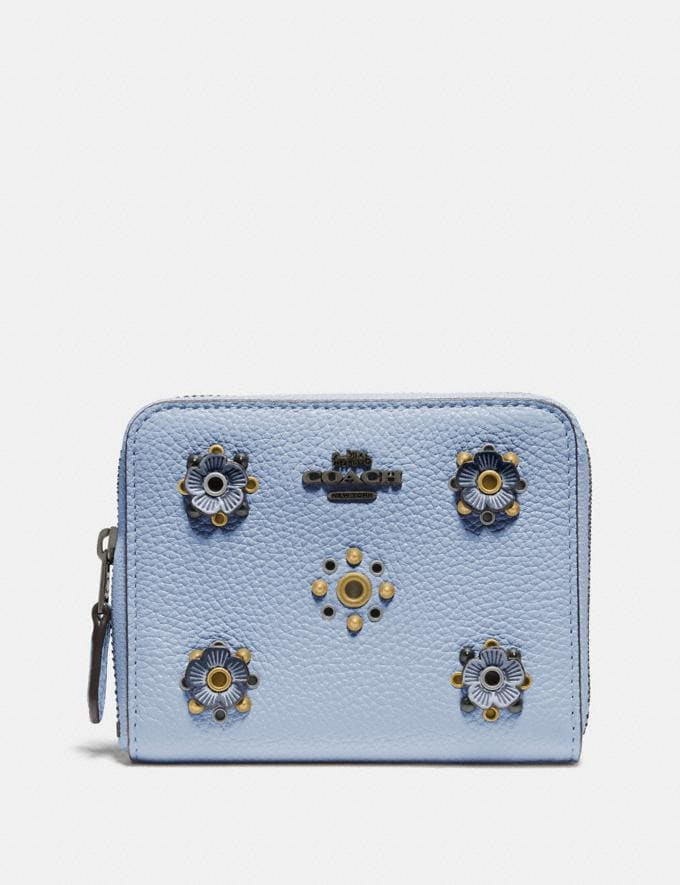 Coach Small Zip Around Wallet With Scattered Rivets Pewter/Mist Women Wallets & Wristlets Small Wallets