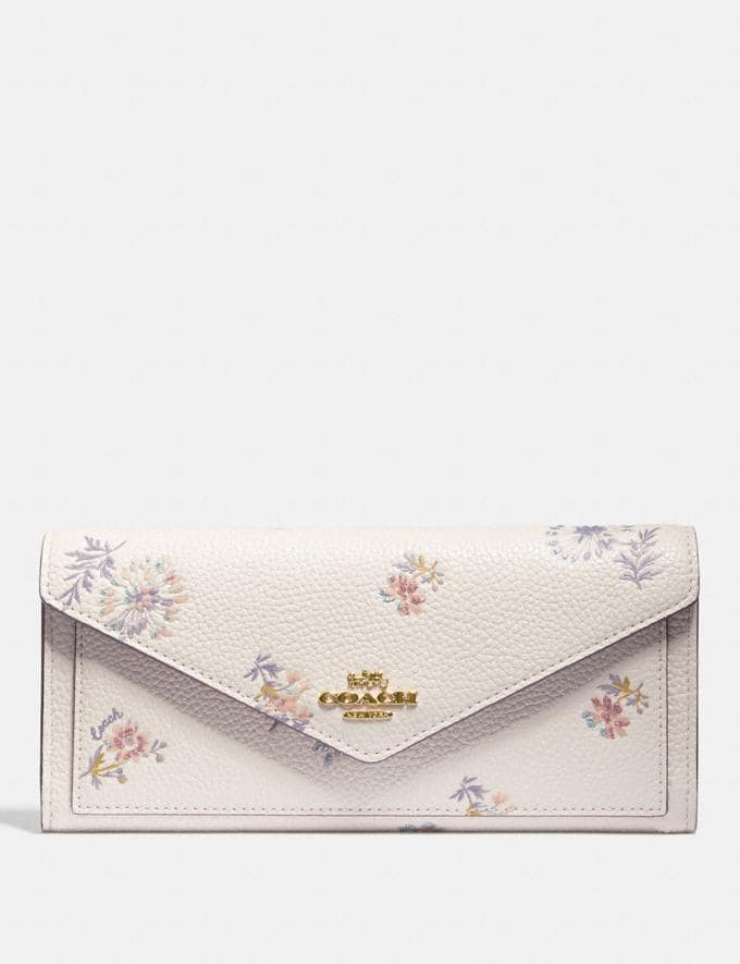Coach Soft Wallet With Meadow Prairie Print Gold/Chalk Women Wallets & Wristlets