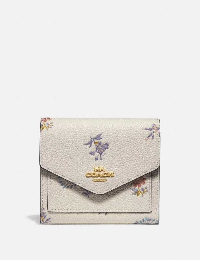 Coach Small Wallet With Meadow Prairie Print Gold/Chalk Women Wallets & Wristlets Small Wallets