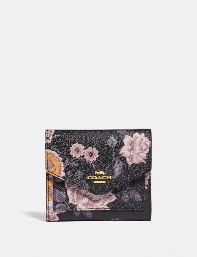 Coach Small Wallet With Garden Rose Print Gold/Black New Women's New Arrivals Wallets & Wristlets