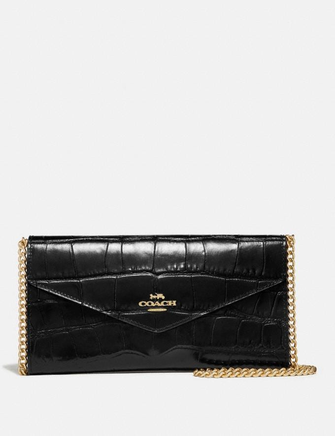 Coach Envelope Chain Wallet Gold/Black Women Small Leather Goods Large Wallets