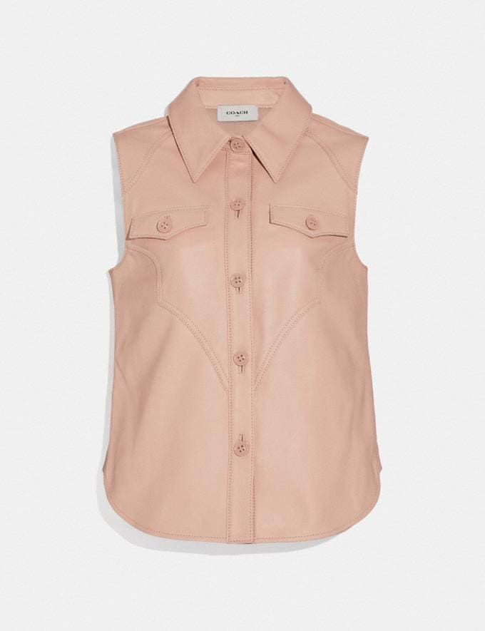 Coach Sleeveless Western Leather Shirt Pink Women Ready-to-Wear Tops