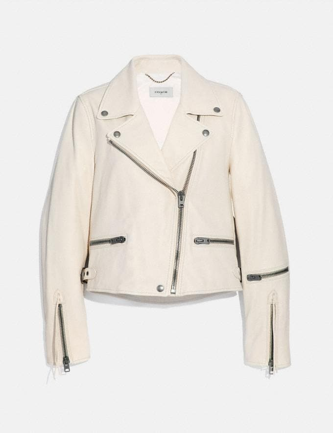 Coach Ghost Biker Jacket White Women Ready-to-Wear Jackets & Outerwear