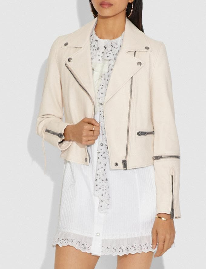 Coach Ghost Biker Jacket White Women Ready-to-Wear Jackets & Outerwear Alternate View 1