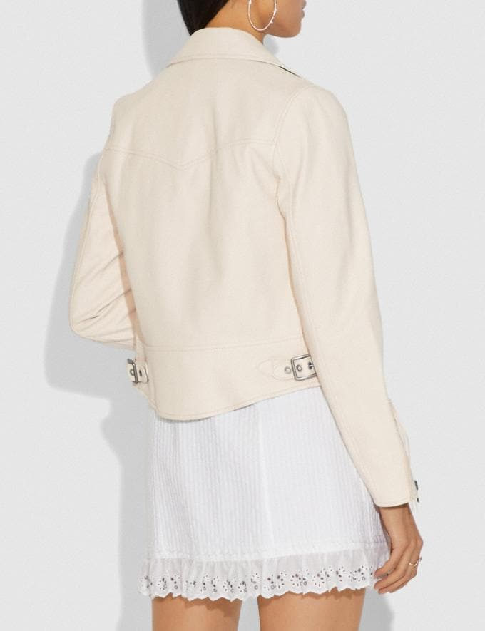 Coach Ghost Biker Jacket White Women Ready-to-Wear Jackets & Outerwear Alternate View 2