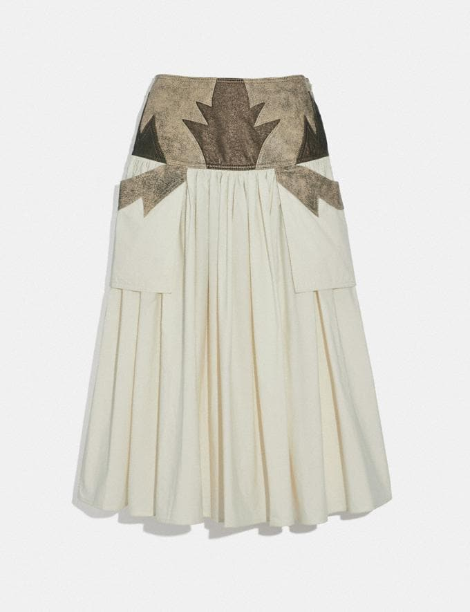 Coach Pleated Skirt With Leather Detail Limestone SALE Women's Sale Ready-to-Wear