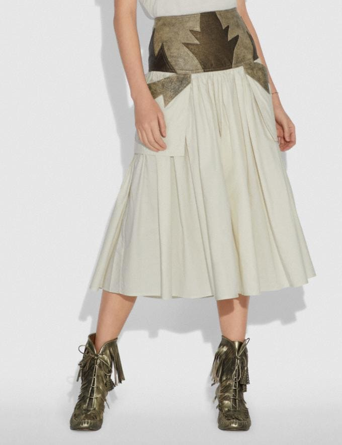 Coach Pleated Skirt With Leather Detail Limestone SALE Women's Sale Ready-to-Wear Alternate View 1
