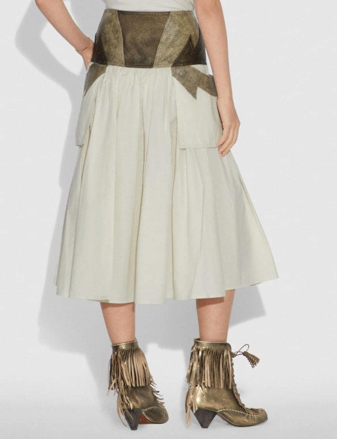 Coach Pleated Skirt With Leather Detail Limestone SALE Women's Sale Ready-to-Wear Alternate View 2