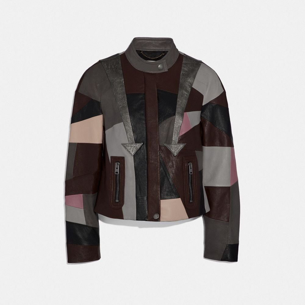 Coach Leather Patchwork Racer Jacket
