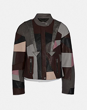 LEATHER PATCHWORK RACER JACKET