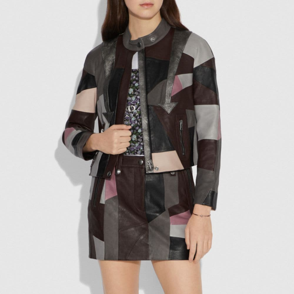 Coach Leather Patchwork Racer Jacket Alternate View 1