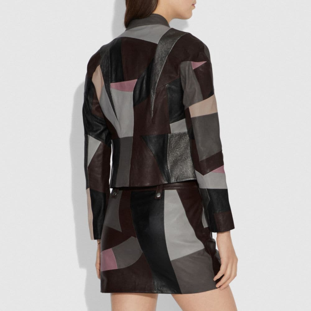 Coach Leather Patchwork Racer Jacket Alternate View 2