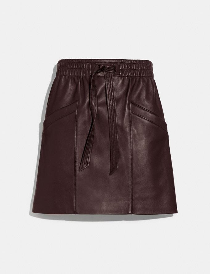 Coach Leather Skirt Walnut Women Ready-to-Wear