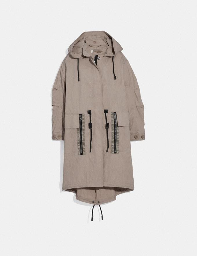 Coach Military Coat With Hood Gravel Grey Women Ready-to-Wear Coats & Jackets