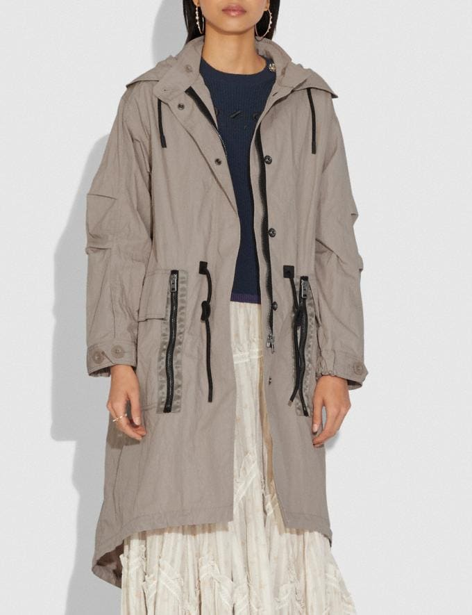 Coach Military Coat With Hood Gravel Grey Women Ready-to-Wear Coats & Jackets Alternate View 1