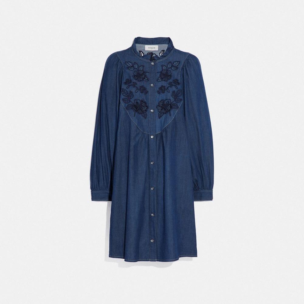 Coach Embroidered Denim Dress