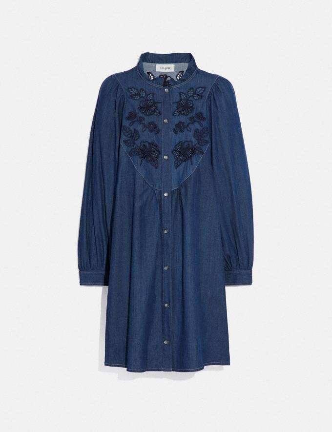 Coach Embroidered Denim Dress Shady Blue SALE Women's Sale Ready-to-Wear