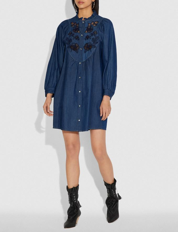 Coach Embroidered Denim Dress Shady Blue SALE Women's Sale Ready-to-Wear Alternate View 1