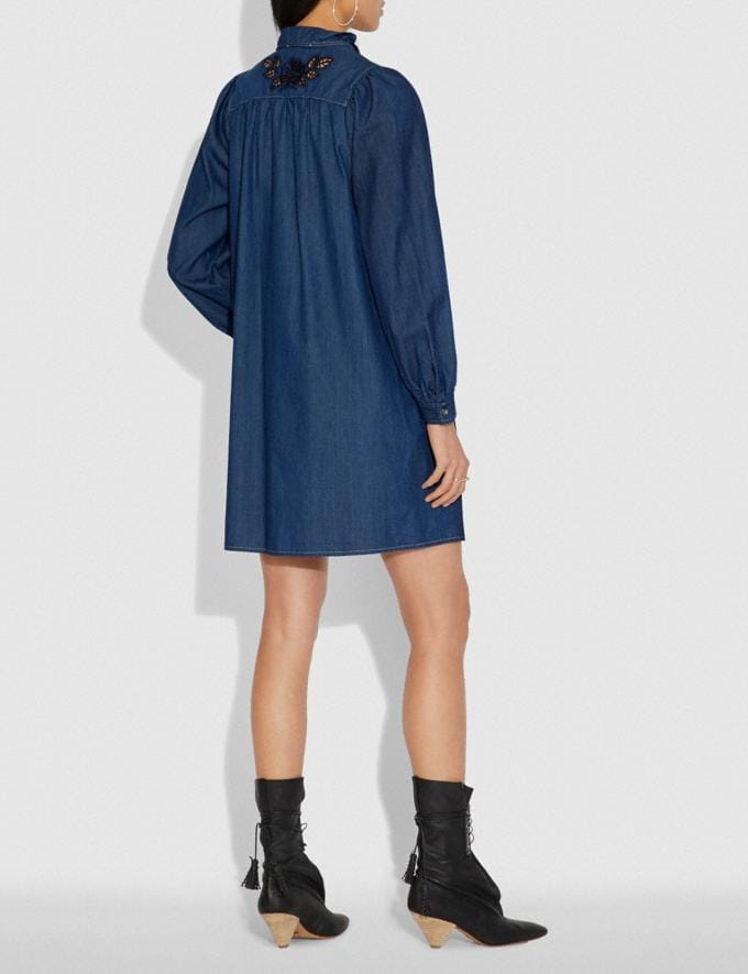 Coach Embroidered Denim Dress Shady Blue SALE Women's Sale Ready-to-Wear Alternate View 2