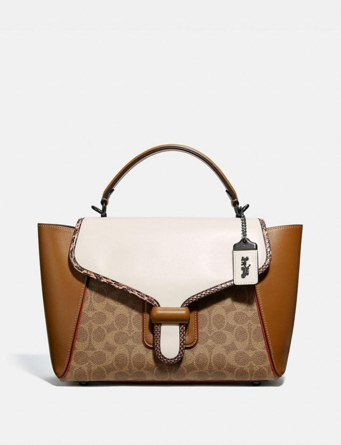 Coach Courier Carryall in Colorblock Signature Canvas With Snakeskin Detail Pewter/Tan Chalk Multi Women Handbags Totes & Carryalls