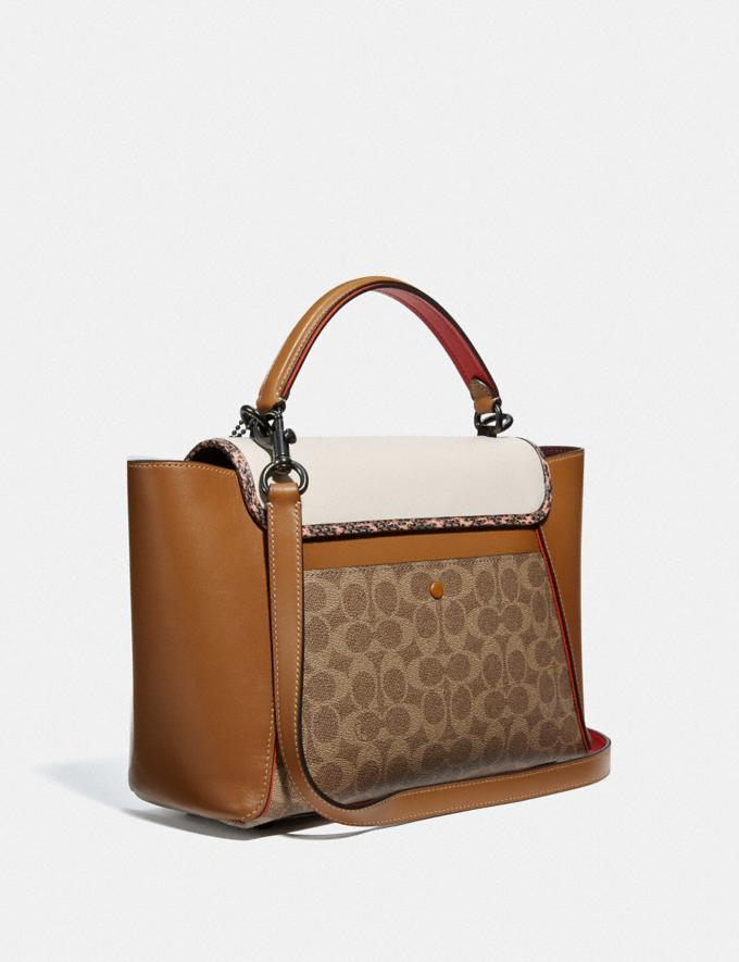 Coach Courier Carryall in Colorblock Signature Canvas With Snakeskin Detail Pewter/Tan Chalk Multi New Featured The Coach Originals Alternate View 1