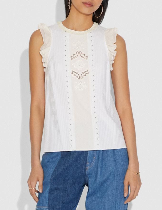 Coach Top With Studs White New Featured Selena Gomez in Coach Alternate View 1