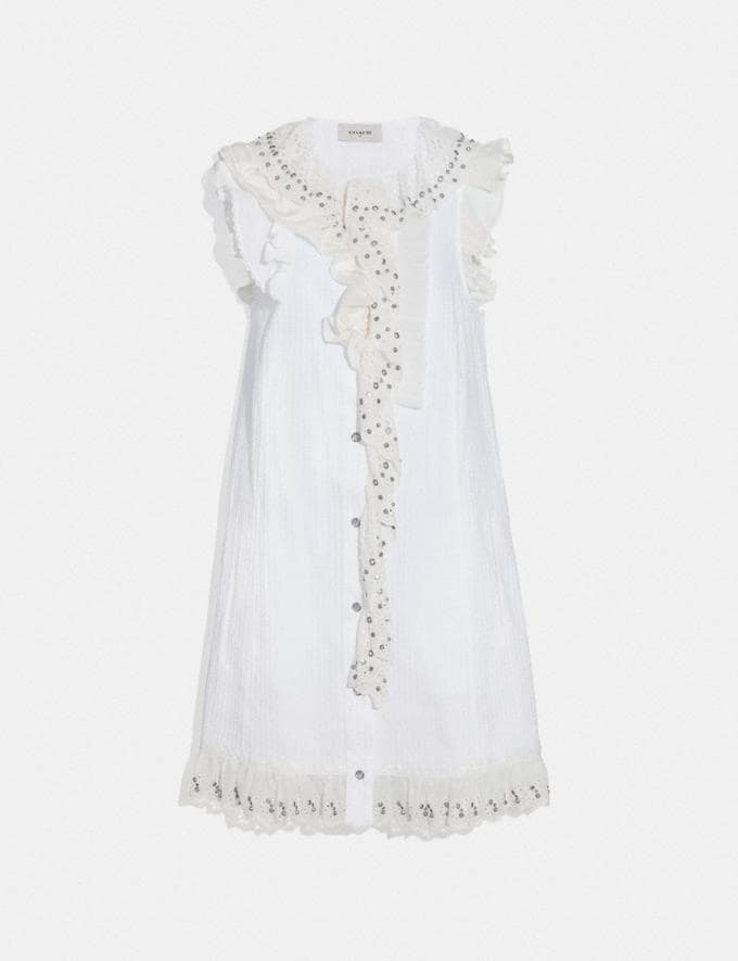 Coach Ruffle Prairie Mini Dress With Studs White Women Ready-to-Wear Dresses