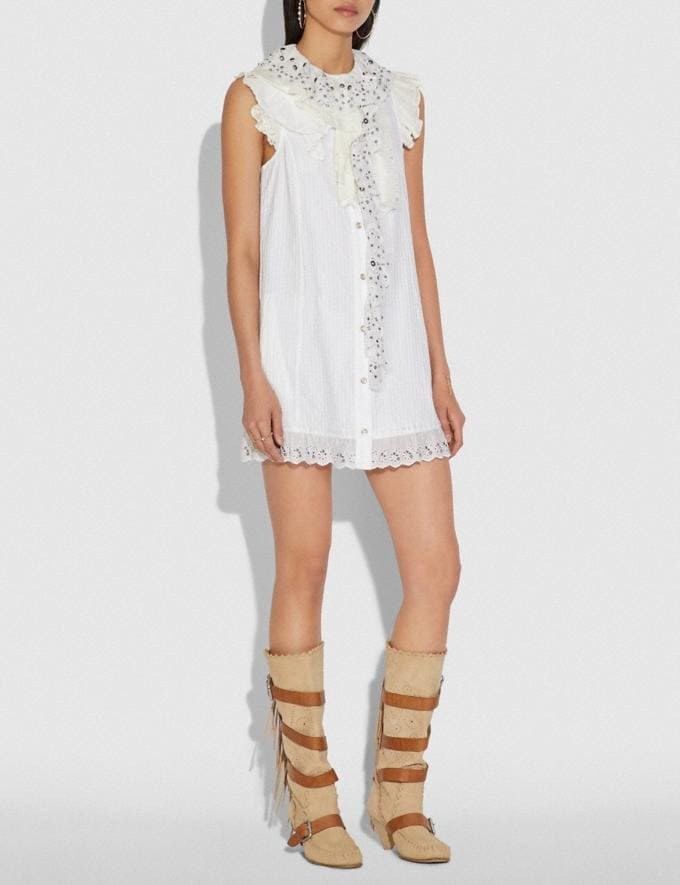 Coach Ruffle Prairie Mini Dress With Studs White Women Ready-to-Wear Dresses Alternate View 1