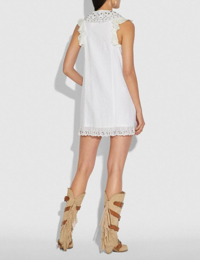 Coach Ruffle Prairie Mini Dress With Studs White Women Ready-to-Wear Dresses Alternate View 2