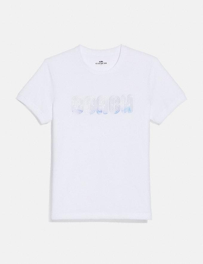 Coach Embroidered Shrunken T-Shirt Optic White