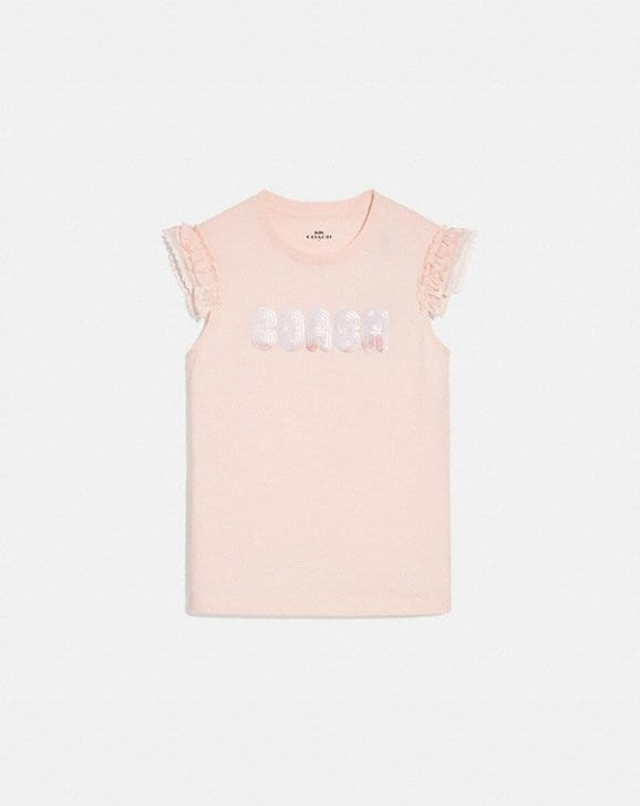Coach COACH PRINT T-SHIRT WITH EMBROIDERED CAP SLEEVES