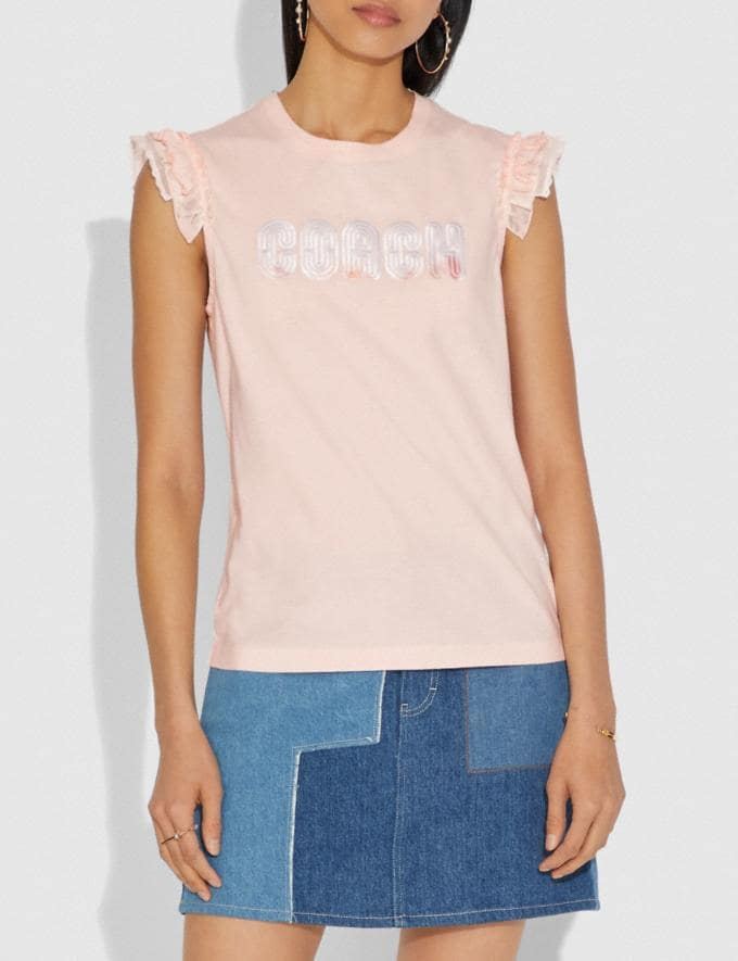 Coach Coach Print T-Shirt With Embroidered Cap Sleeves Pink  Alternate View 1