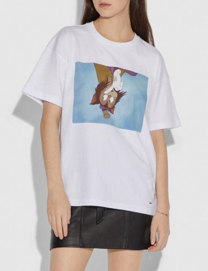 Coach Disney X Coach Gideon Cat Oversized T-Shirt Optic White Women Ready-to-Wear Tops Alternate View 1