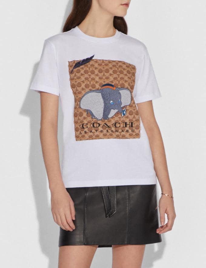 Coach Disney X Coach Dumbo Signature T-Shirt Optic White Women Ready-to-Wear Tops Alternate View 1