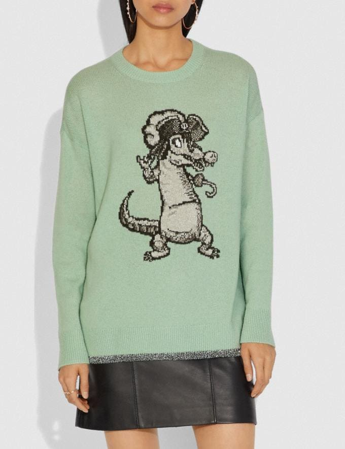 Coach Disney X Coach Crocodile Oversized Intarsia Sweater Mint DEFAULT_CATEGORY Alternate View 1